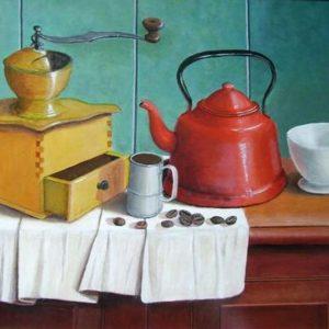 Henk Menninga stilleven met koffiepot 30x40cm